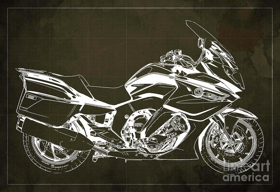 2020 Bmw K1600gt Blueprint, Brown Background Drawing