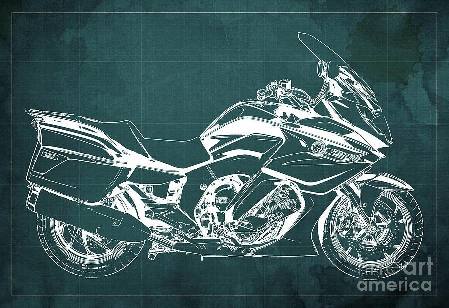 2020 Bmw K1600gt Blueprint, Green Background Drawing
