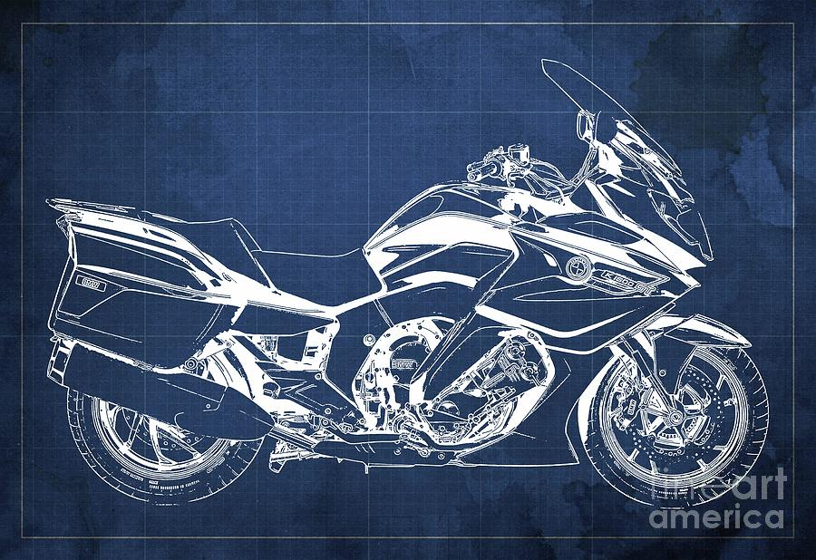 2020 Bmw K1600gt Blueprint Original Artwork, Blue Background Drawing