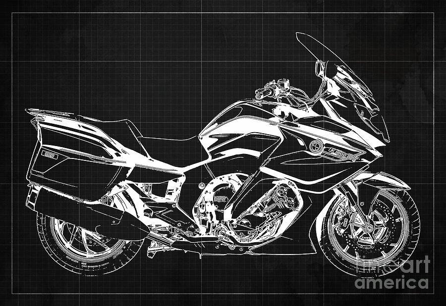 2020 Bmw K1600gt Blueprint Original Artwork, Dark Grey Background Drawing