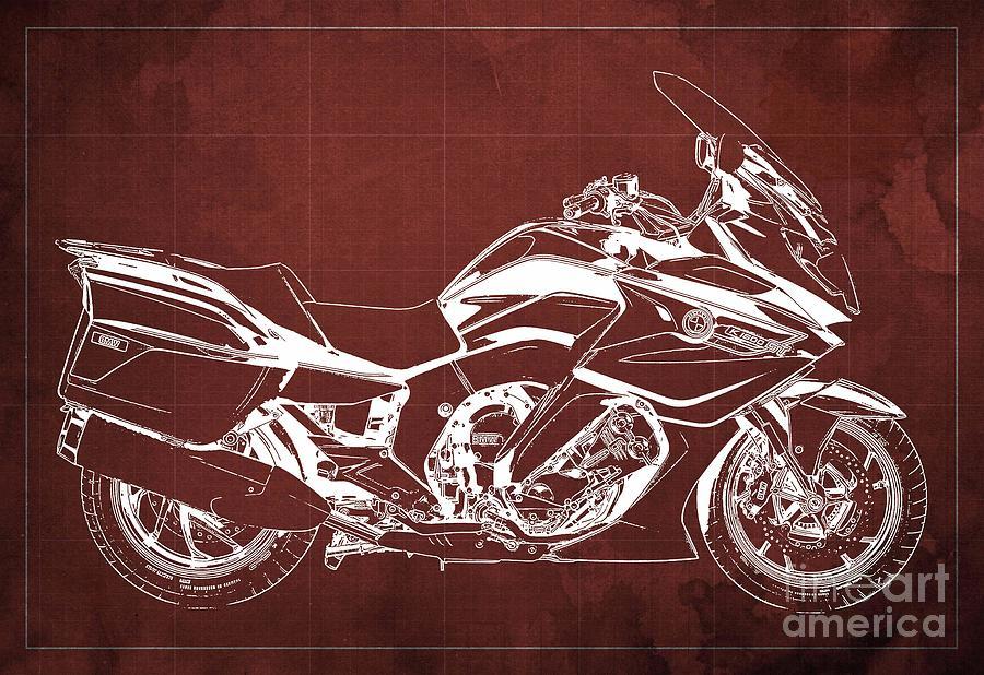 2020 Bmw K1600gt Blueprint Original Artwork, Red Background Drawing