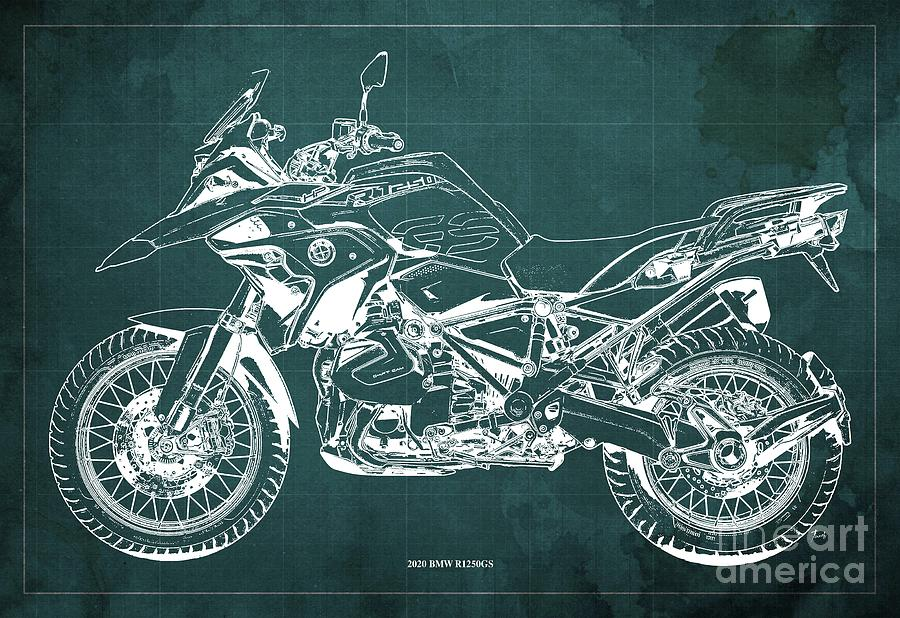 2020 Bmw R1250gs Blueprint,green Background,posters For Bikers Drawing