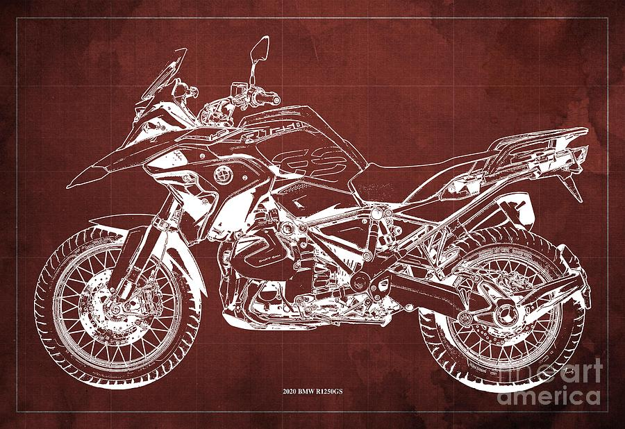 2020 Bmw R1250gs Blueprint,red Background,posters For Bikers Drawing