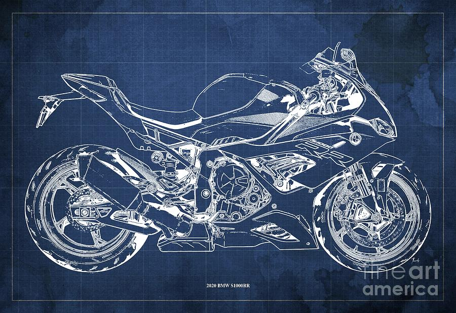 2020 Bmw S1000rr Blueprint,blue Background,gift Ideas For Bikers Drawing