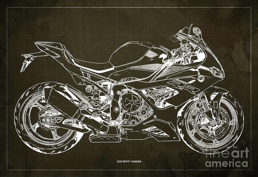 2020 Bmw S1000rr Blueprint,brown Background,gift Ideas For Bikers Drawing
