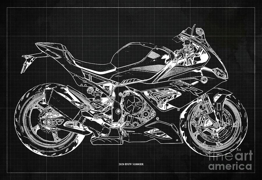 2020 Bmw S1000rr Blueprint,dark Grey Background,gift Ideas For Bikers Drawing