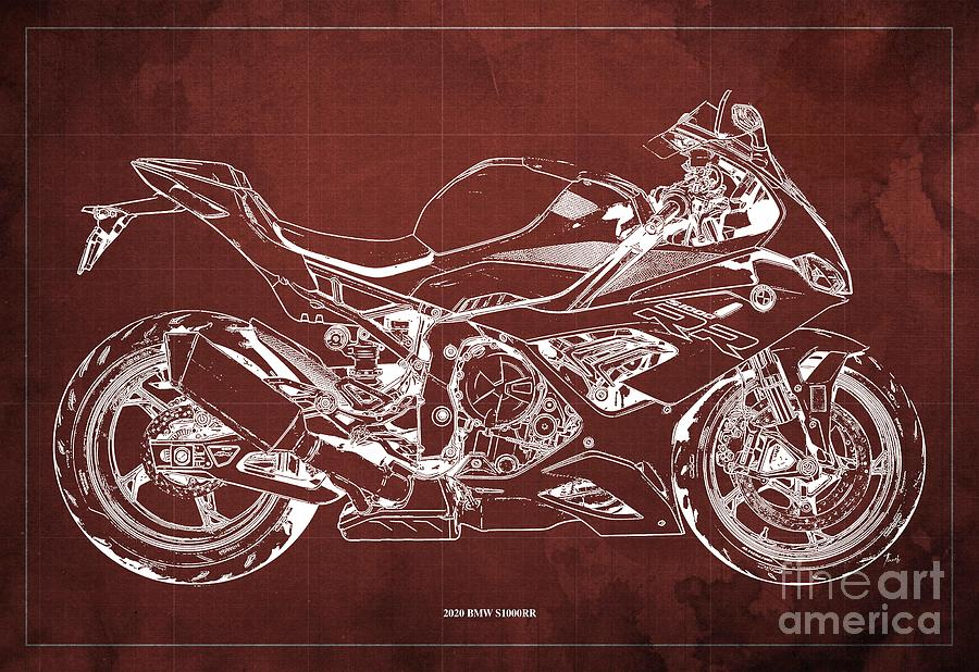 2020 Bmw S1000rr Blueprint,red Background,gift Ideas For Bikers Drawing