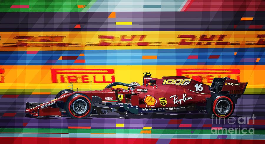 Automotive Mixed Media - 2020 Tuscan Grand Prix Ferrari 1000 Race by Yuriy Shevchuk