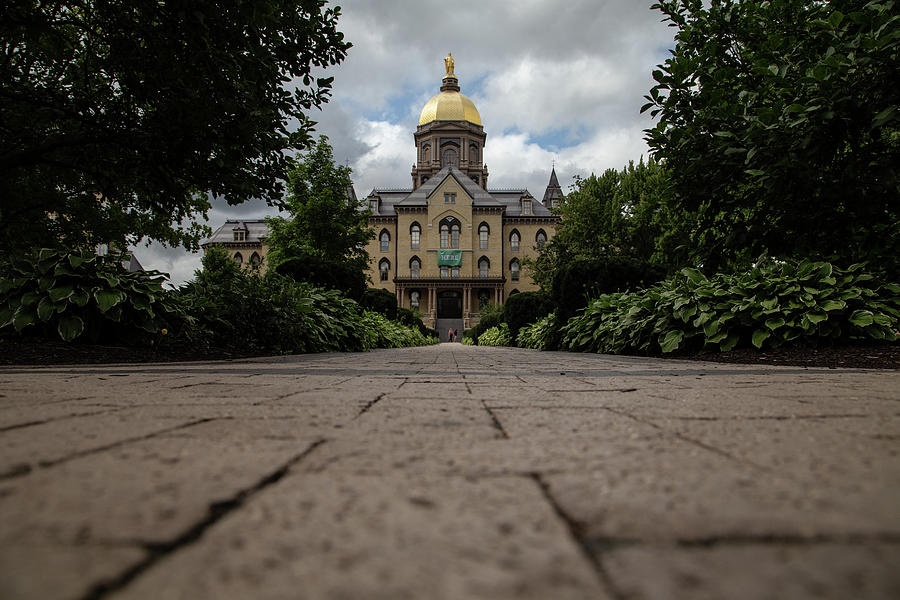 Low Walk View Of The Golden Dome At University Of Notre Dame Photograph