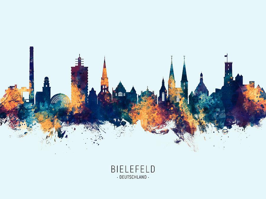 Bielefeld Digital Art - Bielefeld Germany Skyline by Michael Tompsett
