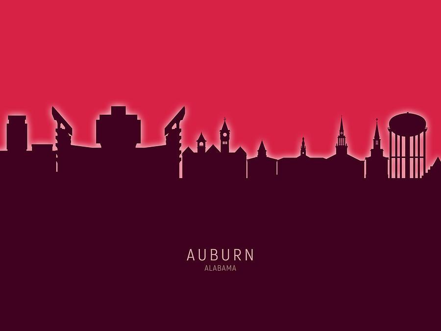 Auburn Digital Art - Auburn Alabama Skyline by Michael Tompsett