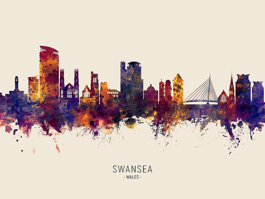 Swansea Digital Art - Swansea Wales Skyline by Michael Tompsett