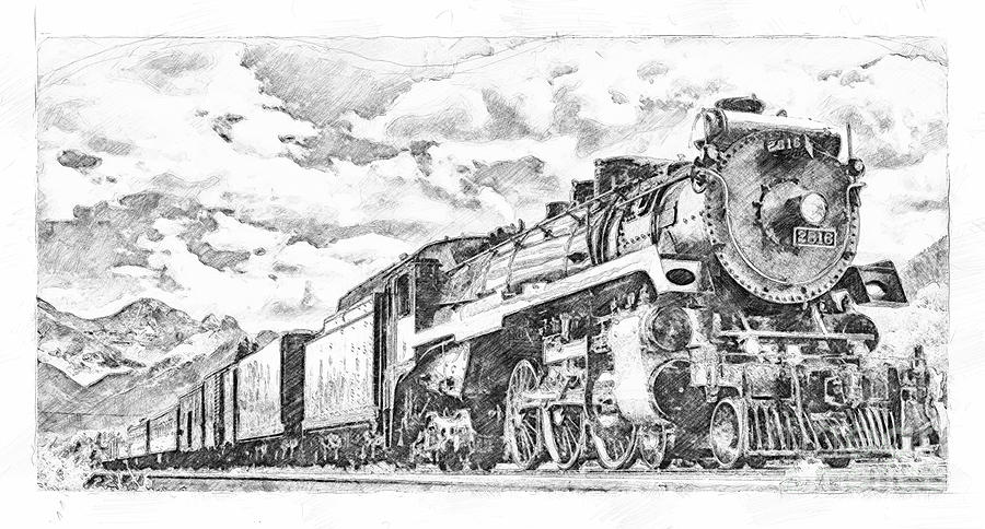 2816 at Banff Siding - Sketch by Brad Allen Fine Art