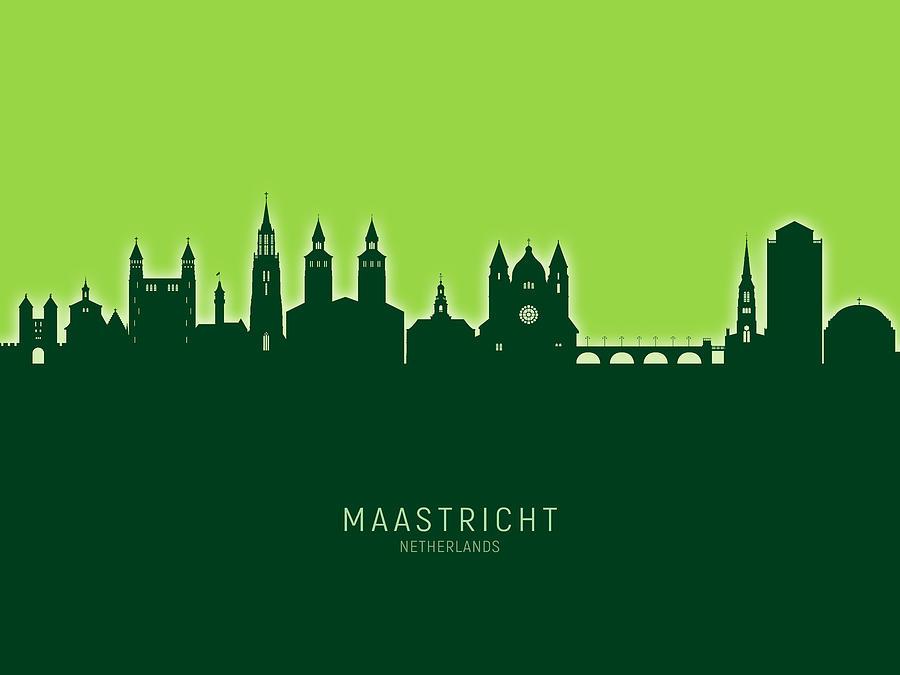 Maastricht Digital Art - Maastricht The Netherlands Skyline by Michael Tompsett