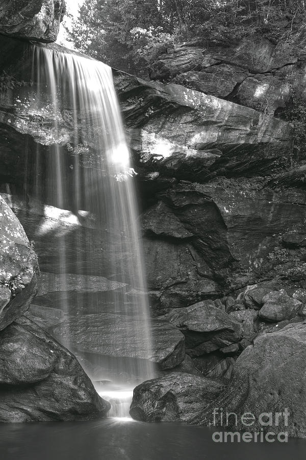 Black And White Photograph - Black And White Waterfall by Phil Perkins