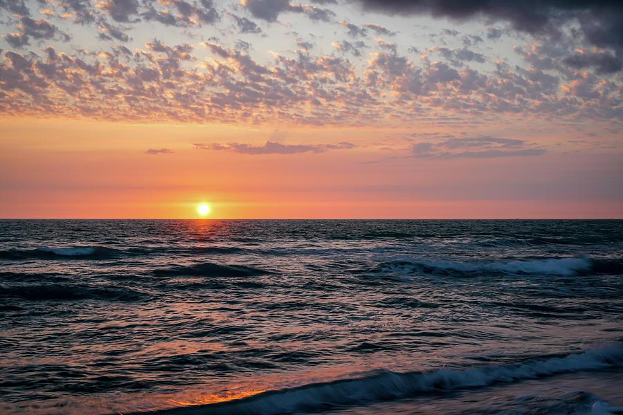 Beach Photograph - Cobblestone Cloud-Filled Sunset by Ric Schafer