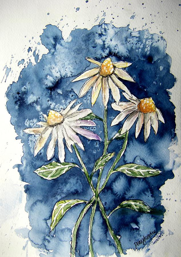 Daisy Painting - 3 Daisies Flower Art by Derek Mccrea