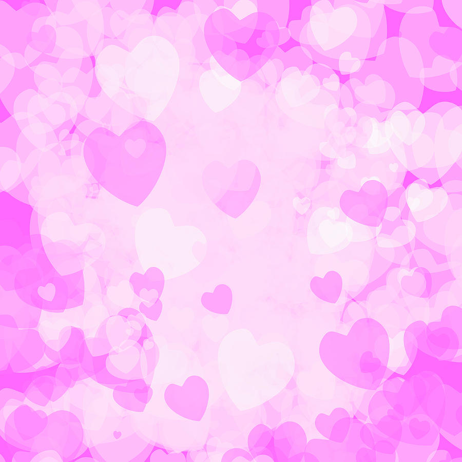 Heart Digital Art - Delicate pink set of hearts for Valentines day or wedding cards by Elena Sysoeva