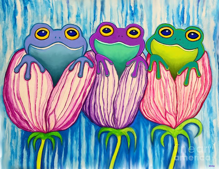 3 Frogs In Flowers Digital Art
