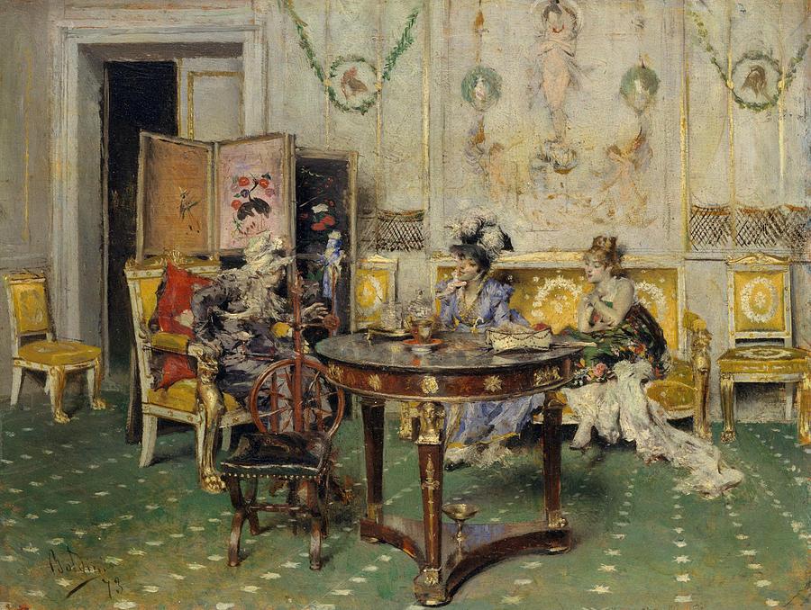 Italian Painters Painting - Gossip 3 by Giovanni Boldini