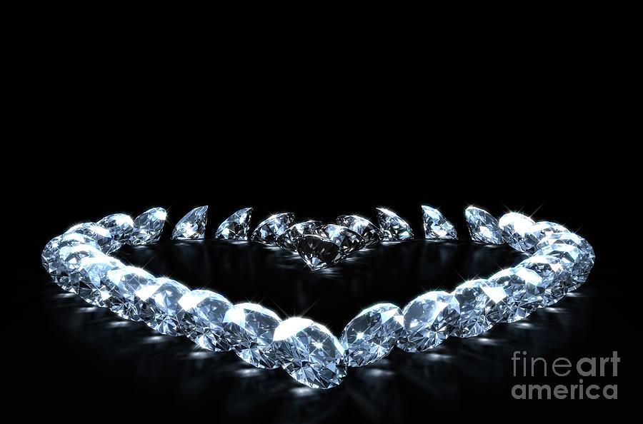 Diamond Digital Art - Heart Array Of Diamonds by Allan Swart