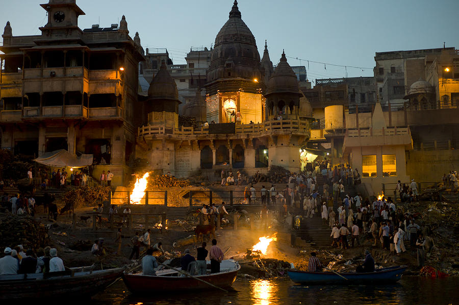 Hindu Cremation by Ganges in Varanasi, India Photograph by Tim Graham