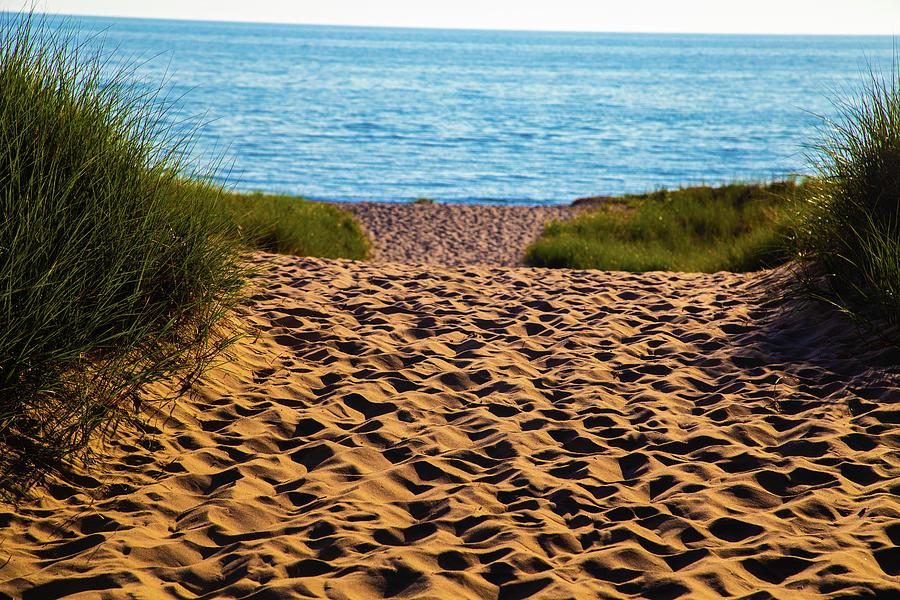 Lake Photograph - Lake Michigan beach levels by Eldon McGraw