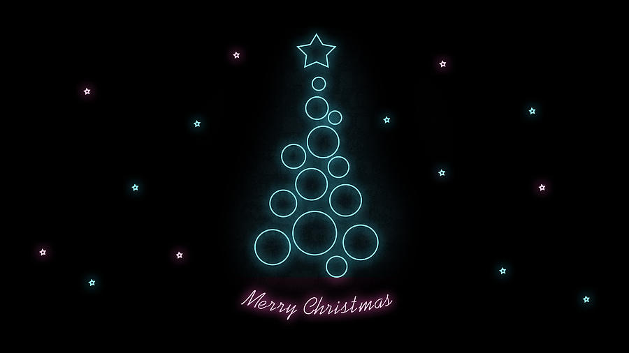 3 merry christmas blue pink tree on black background abstract neon wallpaper elena sysoeva