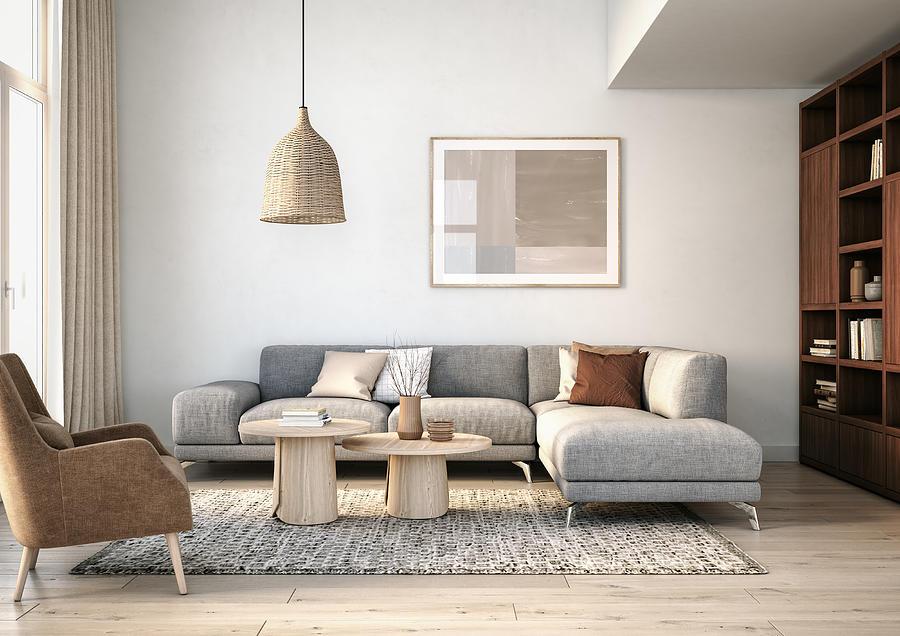 Modern scandinavian living room interior - 3d render Photograph by CreativaStudio