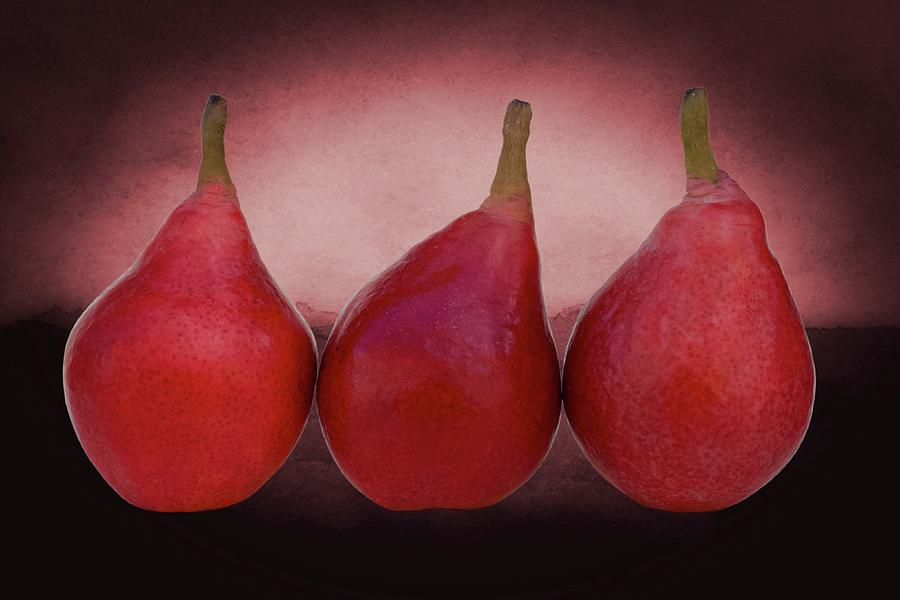 3 Red Pears Photograph