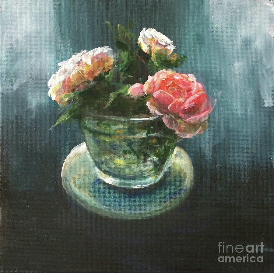 3 Roses In A Jar Painting