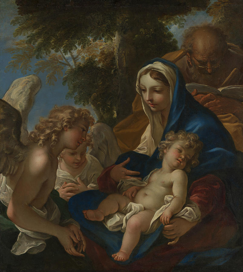 Sebastiano Ricci Painting - The Holy Family With Angels by Sebastiano Ricci