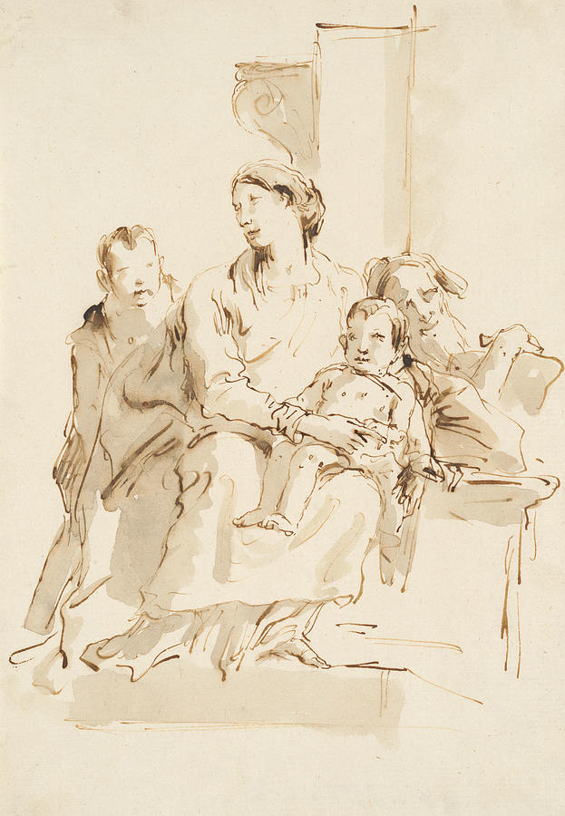 Italian Painters Drawing - The Holy Family With Saint John by Giovanni Battista Tiepolo