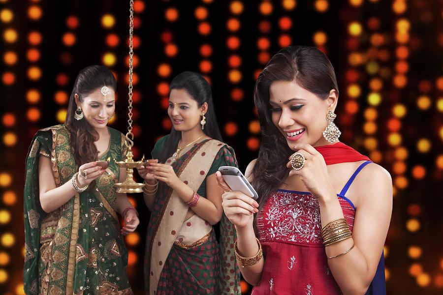 Young women celebrating Diwali Photograph by Sudipta Halder