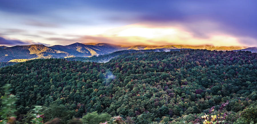 early morning autumn foggy photo at blue ridge parkway north car by ALEX GRICHENKO