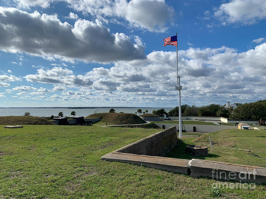 Fort Moultrie - Looking Over Harbor Toward Fort Sumter Photograph