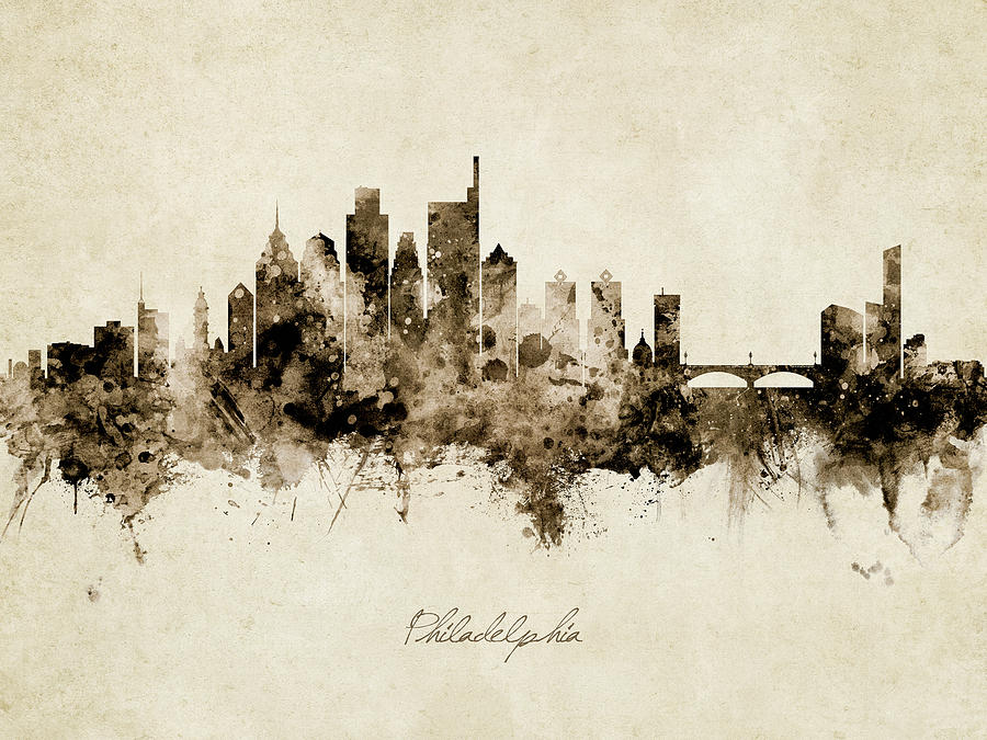 Philadelphia Digital Art - Philadelphia Pennsylvania Skyline 38 by Michael Tompsett