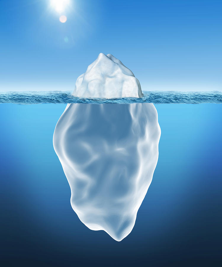 3D illustration of Iceberg Drawing by Simone  Brandt