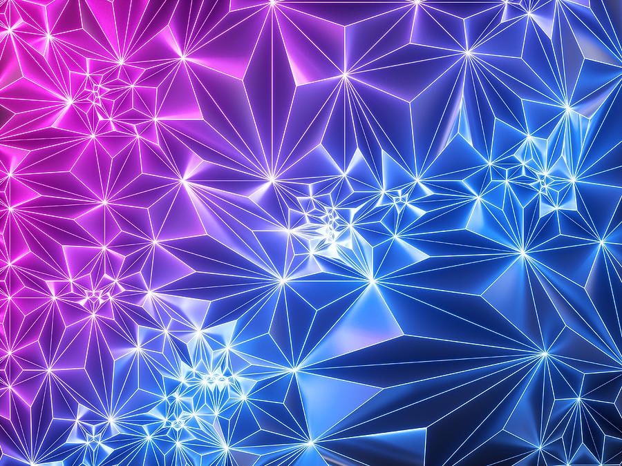 3d Render, Pink Blue Neon Geometric Background, Polygonal Mesh, Grid, Glowing Light, Crystallized Faceted Texture, Modern Fashion Wallpaper Photograph