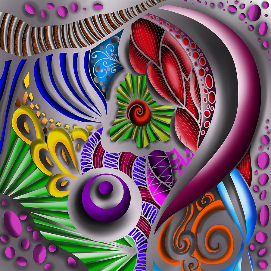 3D Zendoodle Metalic Abstract Pattern Silver by Patricia Piotrak
