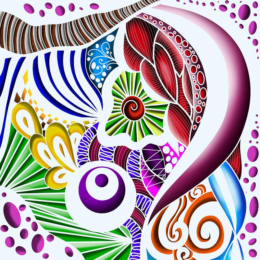 3d Zendoodle Metalic Abstract Pattern White Painting
