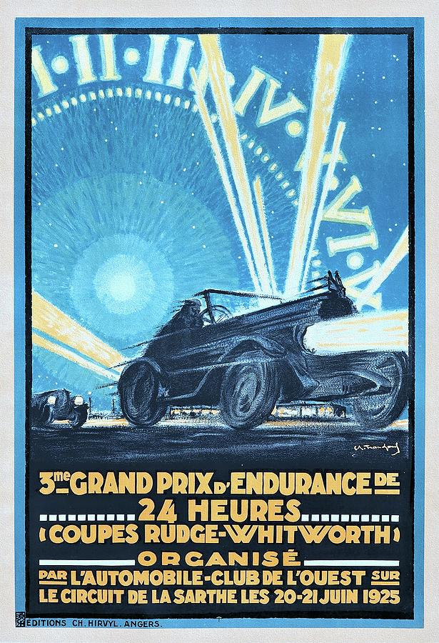 Art Deco Era Painting - 3me Grand Prix dEndurance. 1925 Vintage Car Racing Poster by Tranchant