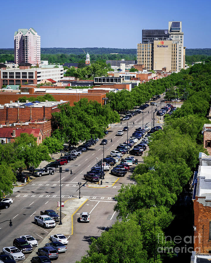 Downtown Augusta Ga: Broad Street Downtown Augusta GA Aerial View Photograph By