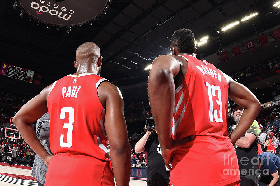 Chris Paul and James Harden Photograph by Andrew D. Bernstein