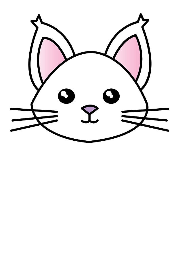 Cute Cartoon Cat Digital Art By Passion Loft
