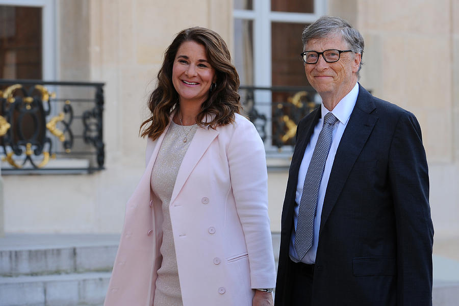 French President Receives Bill Gates, the co-Founder of the Microsoft Company At Elysee Palace Photograph by Frederic Stevens