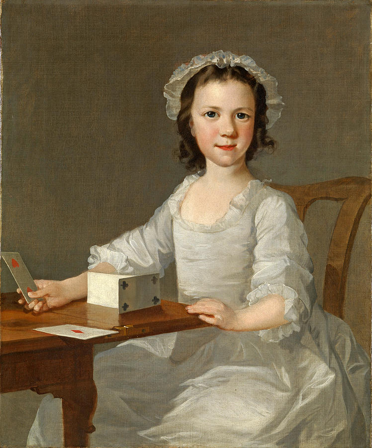 Girl Building a House of Cards by Attributed to Thomas Frye