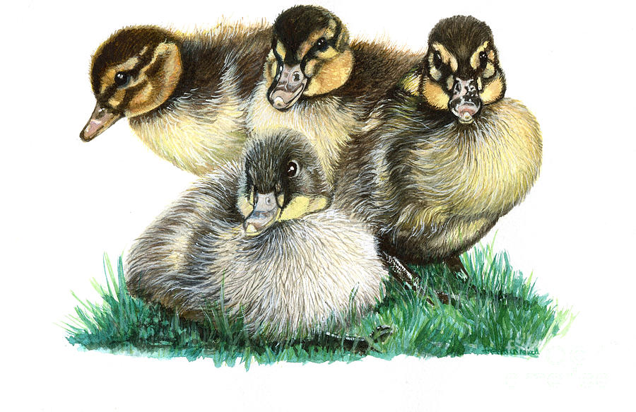 4 Little Chicks Painting