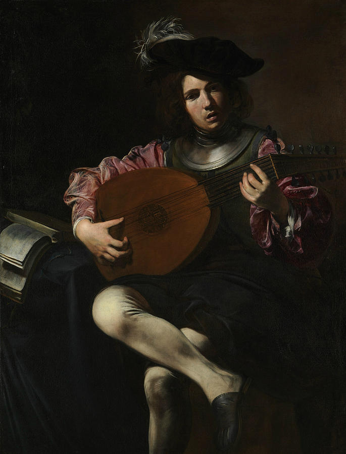 French Painters Painting - Lute Player 4 by Valentin de Boulogne