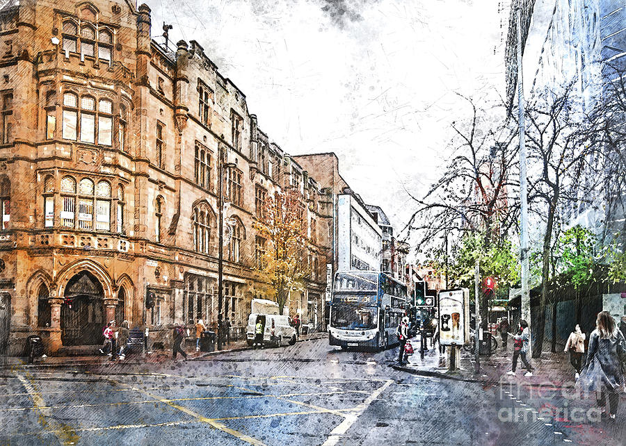 Manchester City Watercolor Digital Art